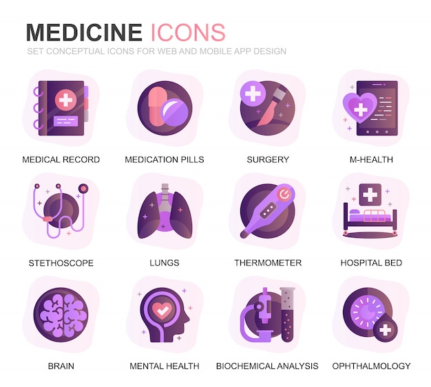 Moderne set gezondheidszorg en geneeskunde verloop platte pictogrammen