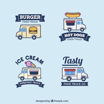 Moderne set handgemaakte voedsel vrachtwagen logo's