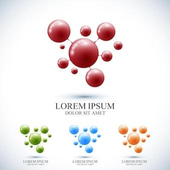Moderne set logo pictogram dna en molecuul. vector sjabloon voor geneeskunde wetenschap technologie chemie