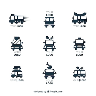 Moderne set minimalistische logo's voor voedselvrachtwagens