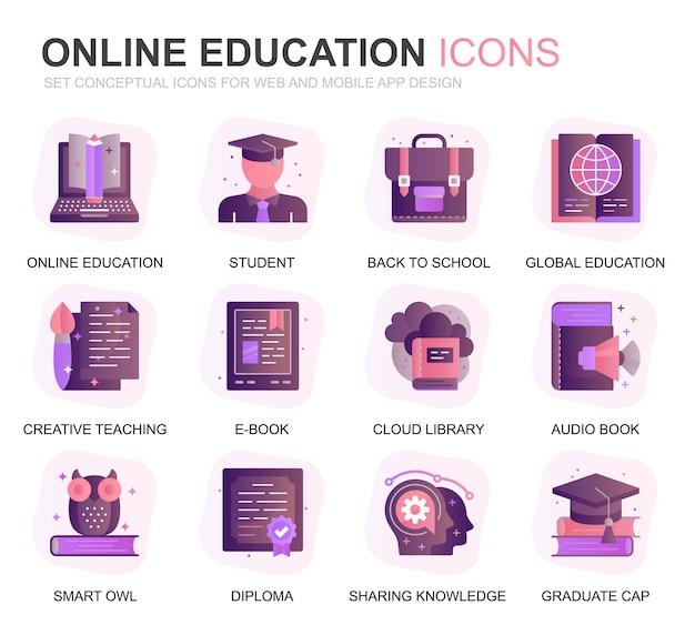 Moderne set onderwijs en kennis verloop plat pictogrammen