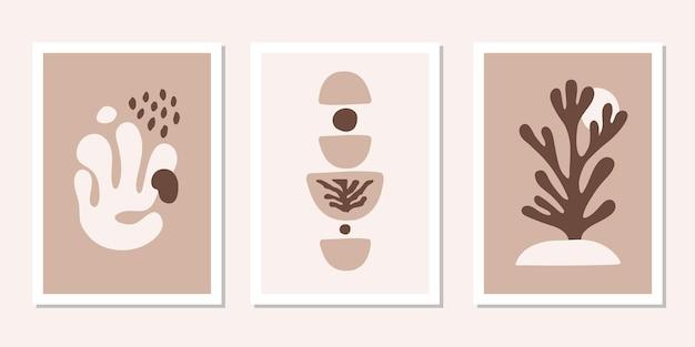 Moderne set posters met abstracte bruine organische vormen eigentijds minimalistisch kunst aan de muur