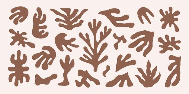 Moderne set van abstracte bruine organische vormen geïnspireerd matisse vectorontwerp