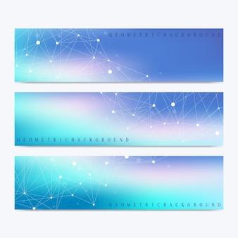 Moderne set van banners. cybernetische stippen. lijnen plexus.