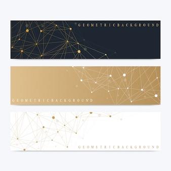 Moderne set van banners. geometrische abstracte presentatie. molecuul-dna en communicatieachtergrond voor geneeskunde, wetenschap, technologie, chemie. cybernetische stippen. lijnen plexus.