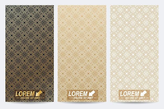 Moderne set van flyers whit arabische stijl patroon achtergrond.