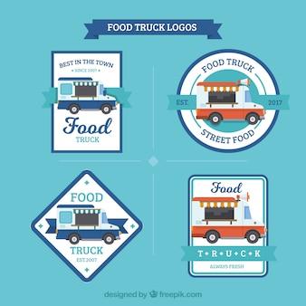 Moderne set van voedsel vrachtwagen logo's