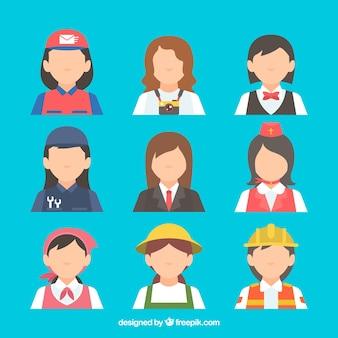 Moderne set van vrouwelijke banen avatars