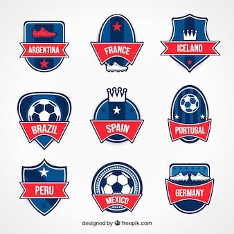 Moderne set voetbal badges