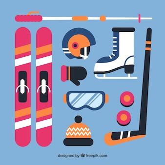 Moderne set wintersportelementen