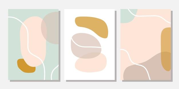 Moderne sjablonen met abstracte vormen in pastelkleuren.
