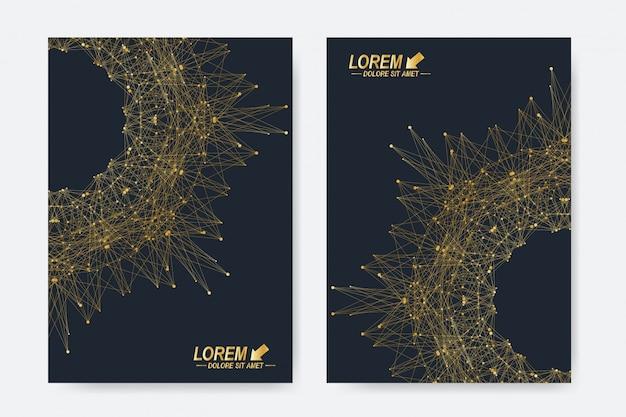 Moderne sjablonen voor brochure, folder, flyer, omslag, tijdschrift of jaarverslag in a4-formaat. boeklay-out voor zaken, wetenschap, geneeskunde en technologie. abstracte presentatie met ronde vorm