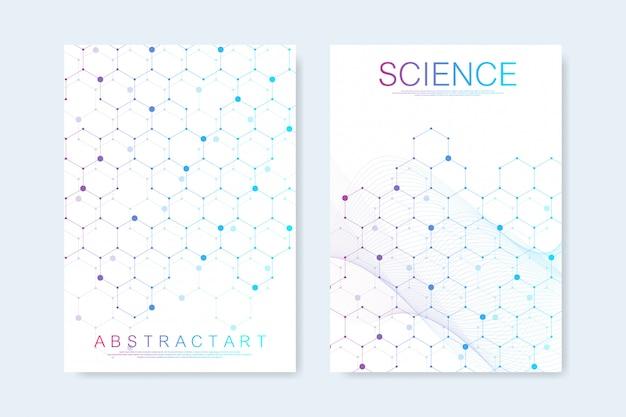 Moderne sjablonen voor brochure, omslag, flyer, jaarverslag, folder. zeshoekige moleculaire structuren. futuristische technische achtergrond in wetenschappelijke stijl. grafische hex achtergrond