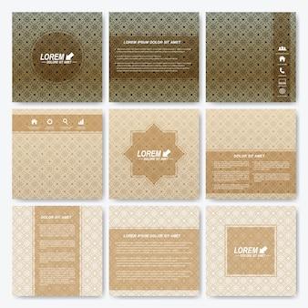 Moderne sjabloon vierkante brochure whit arabische stijl patroon achtergrond.