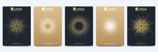 Moderne sjabloon voor brochure leaflet flyer advertentie cover catalogus tijdschrift of jaarverslag. gouden layout in a4 formaat. bedrijfs-, wetenschaps- en technologieontwerp. presentatie met gouden mandala.