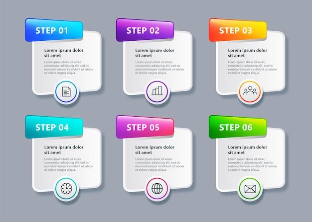 Moderne sjabloon zakelijke infographic met 6 stappen