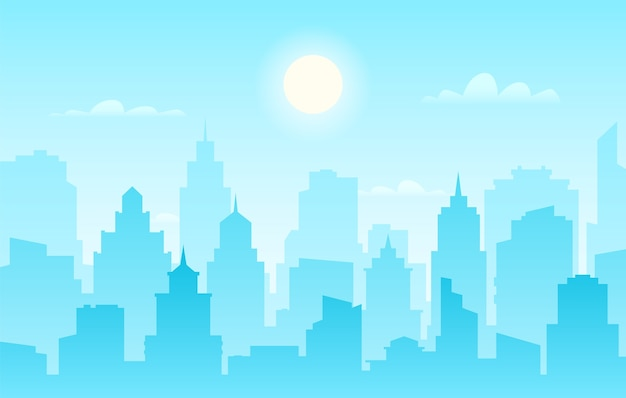 Moderne skyline van de stad, panoramisch overdag