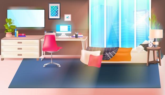 Moderne slaapkamer interieur leeg geen mensen huis kamer met meubels horizontaal