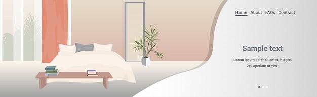 Moderne slaapkamer interieur leeg geen mensen huiskamer met meubilair horizontale kopie ruimte