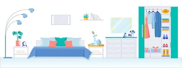 Moderne slaapkamer met grote kledingkast, plat.