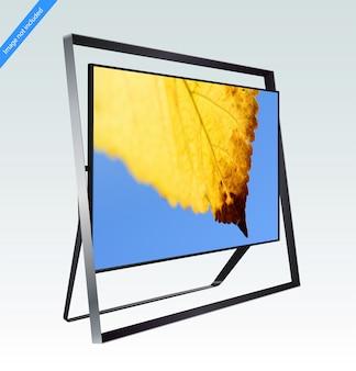 Moderne slimme led 8k tv-serie geïsoleerd op lichtblauw