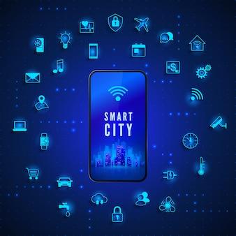 Moderne smart city concept smart city op het scherm van de mobiele telefoon