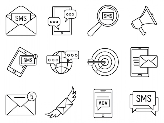 Moderne sms marketing iconen set, overzicht stijl