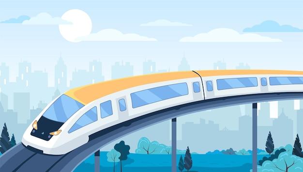 Moderne snelheidstrein in de stad vectorillustratie