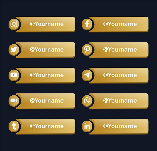 Moderne social media iconen logo's of gouden netwerkplatform banners