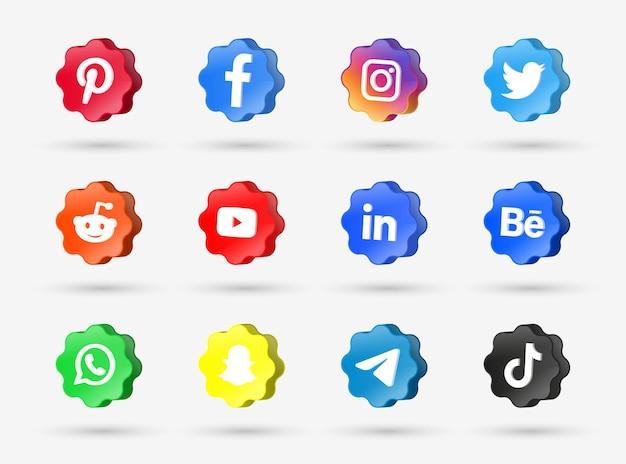 Moderne social media iconen logo's