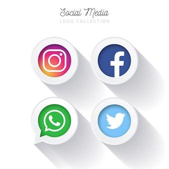 Moderne sociale media-knoppen