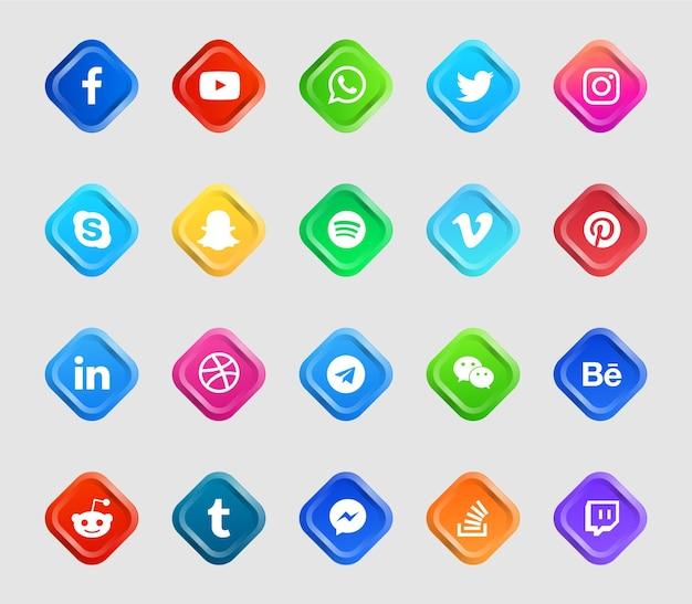 Moderne sociale media-logo's en pictogrammen instellen