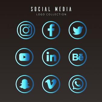 Moderne sociale media-logo's