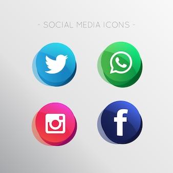 Moderne sociale media pictogrammen