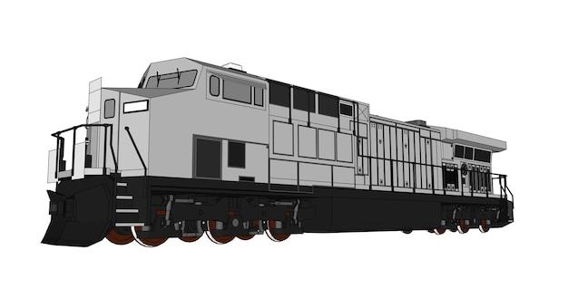 Moderne spoorweglocomotief met grote kracht en krachtillustratie met omtreklijnlijnen