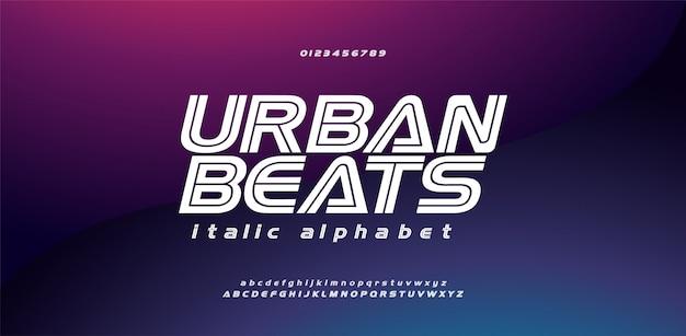 Moderne sport stedelijke cursief lettertype alfabet en nummer