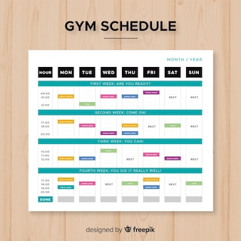 Moderne sportschool schema met platte ontwerp