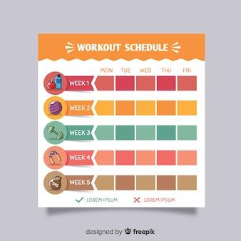 Moderne sportschool wekelijkse schema met platte ontwerp
