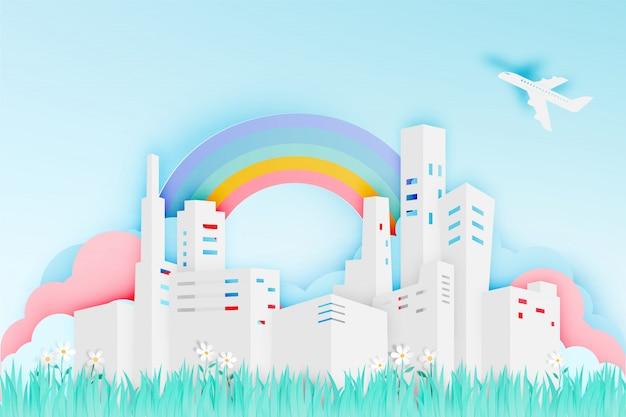 Moderne stad in papier kunststijl met bloem veld vectorillustratie