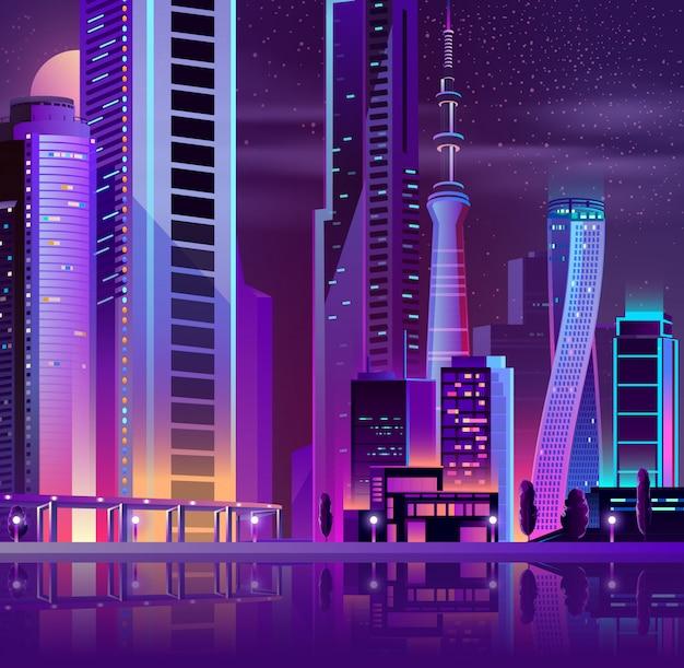 Moderne stad op zee-eiland