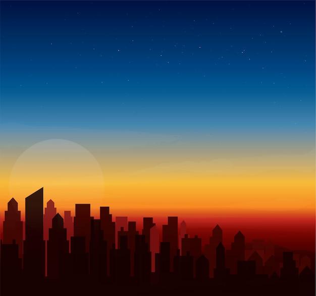 Moderne stad skyline zonsondergang landschap-achtergrond