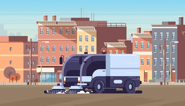 Moderne stad straatveger vrachtwagen industrieel voertuig
