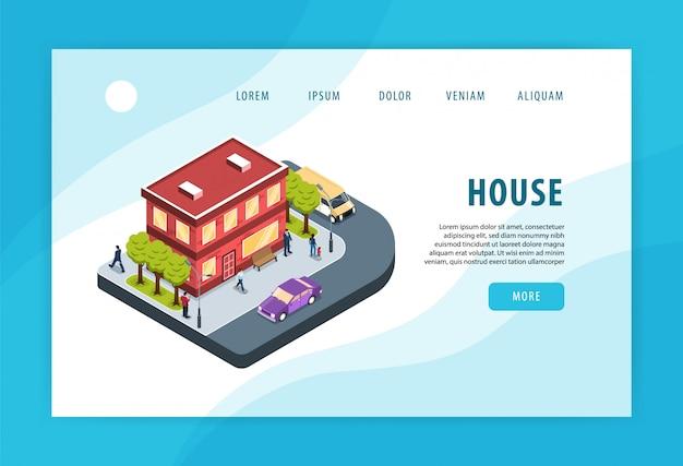 Moderne stad woonwijk woningbouw aangrenzende straathoek verkeer milieu concept isometrische webpagina