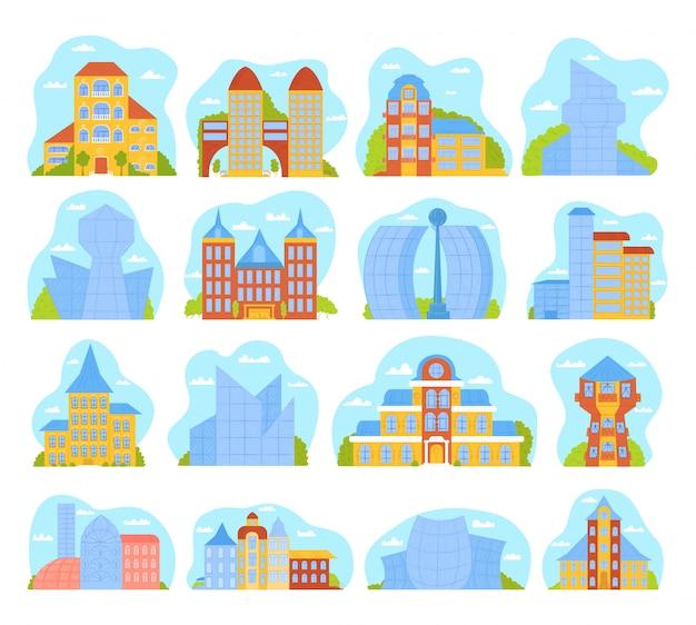 Moderne stadsgebouwen set illustraties met architectuur van skyscrappers. stedelijk morden stadsgezicht, torens, het centrum, de metropool van de stadshorizon. stadsconstructies en gebouwen.