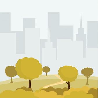 Moderne stadspark cartoon vectorillustratie. groene bomen en struikengangweg, gebouwen cityspace