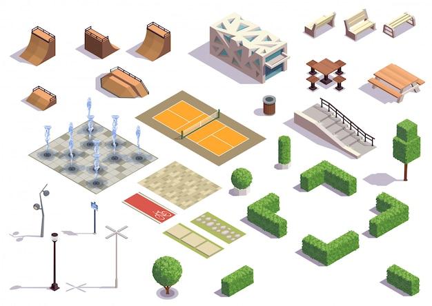 Moderne stadspark isometrische set met recreatie skateboarden fietsen tennisfaciliteiten banken lantaarns fonteinen planten