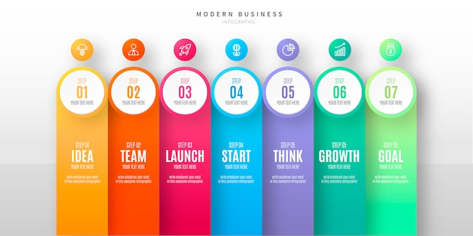 Moderne stap Infographic met pictogrammen