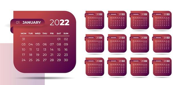 Moderne stijl 2022 nieuwjaarskalenderontwerp in lintstijl