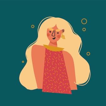 Moderne stijl illustratie mode meisje met lang haar zelfzorg zelfliefde stijlvolle vrouw