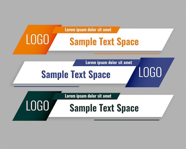 Moderne stijl lagere derde banners sjabloon set